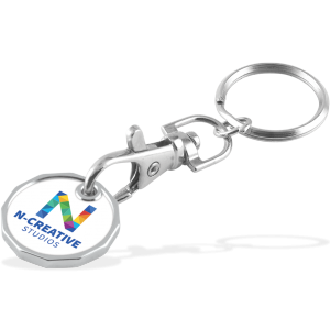 Promotrendz product Full Colour Laminated Trolley Coin Keychain - Double Sided