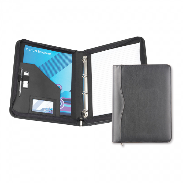 Black Houghton PU A4 Zipped Ring Binder