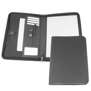 Promotrendz product Clapham PU A4 Deluxe Zipped Conference Folder