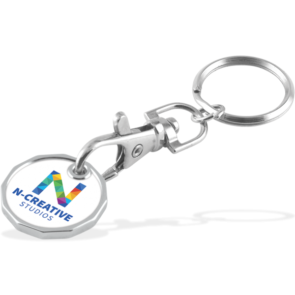 Full Colour Laminated Trolley Coin Keychain - Double Sided